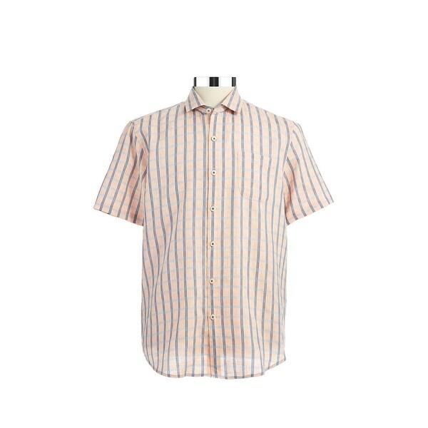 TOMMY BAHAMA Island Modern Fit Shirt Large L Light Orange & Blue Plaid $110