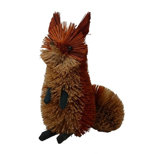 """6.5"""" Bristle Brush Whimsical Handcrafted Brown Fox Sitting - N/A"""
