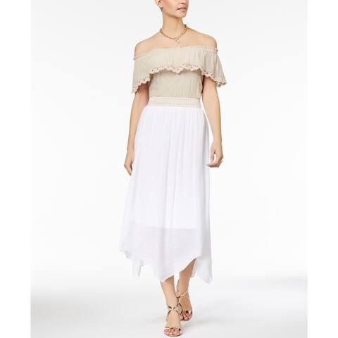 Thalia Sodi Women's Gauze Printed Wrapped Ruffle Skirt White Size Extra Large - X-Large