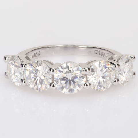 Miadora 4ct DEW Moissanite 5-Stone Semi-Eternity Band Ring in 10k White Gold