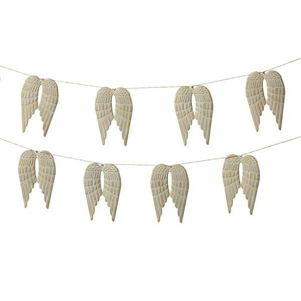 Set of 4 Light Gray and Cream White Metal Decorative Angel Wing Garland 72""