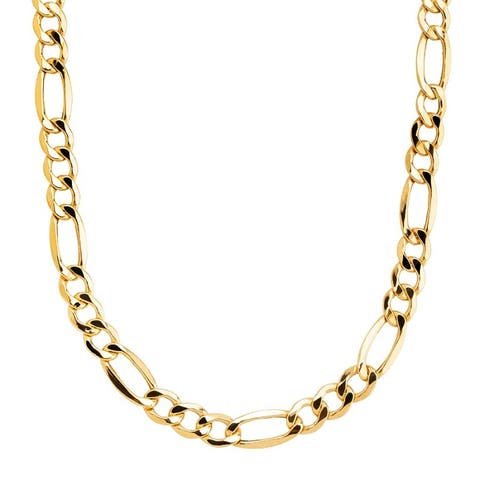 Yellow Gold Overlay 8mm Figaro Chain (20-inch) by Simon Frank Designs