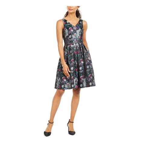TAHARI Green Spaghetti Strap Knee Length Fit + Flare Dress Size 6
