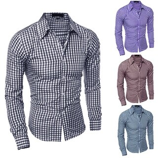 Men's Fashion Casual Lapel Button Down Plaid Long-Sleeved Slim Fit Shirt Top