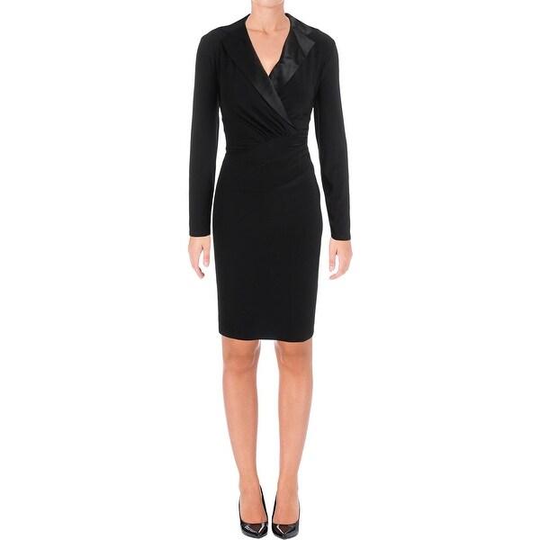 e04981ff35e Lauren Ralph Lauren Womens Petites Wear to Work Dress Surplice Satin Trim