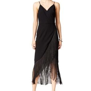 Rachel Rachel Roy NEW Black Woven Fringe 14 Asymmetrical Hem Dress