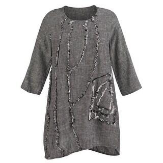 Women's Tunic Top - Salt-and-Pepper Long Linen Shirt