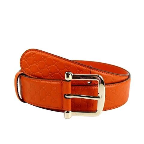 Gucci Women's Orange Microguccissima Leather Gold Buckle Belt 281548 7527 (90 / 36) - 90 / 36