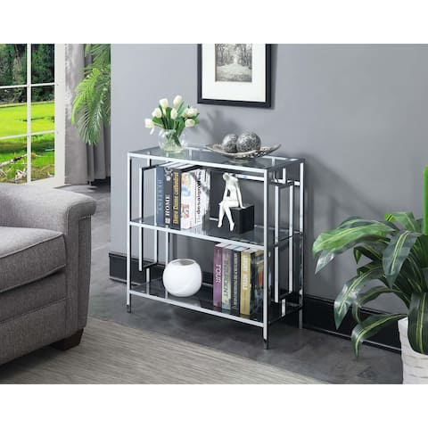 Silver Orchid Abeles Square Chrome 3-tier Bookcase