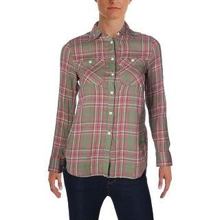 Denim & Supply Ralph Lauren Womens Button-Down Top Plaid Linen - XXS