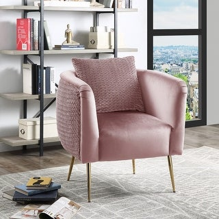 Link to Natalie Velvet Barrel Accent Chair with Metal Legs Similar Items in Living Room Chairs