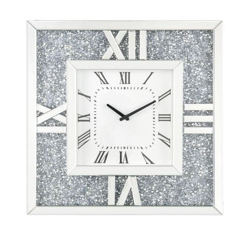 Square Mirror Panel Frame Wall Clock with Faux Diamond, Silver