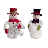 Set of 4 Red and Black and Playful Snowmen with Snowballs and Snowflakes 13""