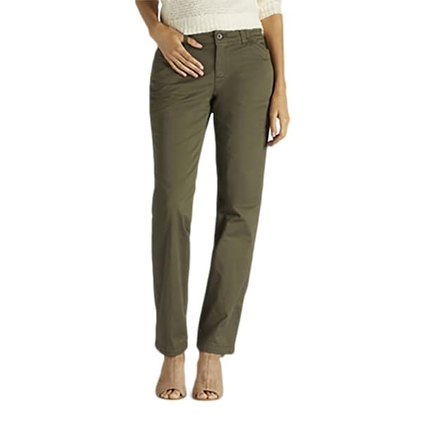 Lee Women's Midrise Fit Essential Chino Pant, Moss