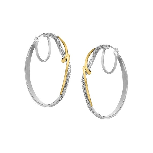 1/4 ct Diamond Hoop Earrings in Sterling Silver & 14K Gold