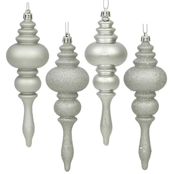 "8ct Silver Splendor Regal 4-Finish Shatterproof Finial Christmas Ornaments 7"""