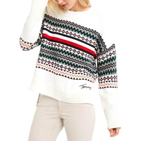 Tommy Hilfiger Womens Crewneck Sweater Fair Isle Long Sleeve - Ivory Multi