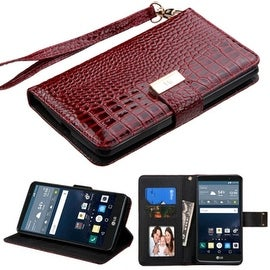 Insten Stand Folio Flip Crocodile Skin Leather Wallet Flap Pouch Case Cover For LG G Stylo LS770