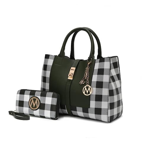 MKF Collection Yuliana Checkered Satchel Bag with Wallet by Mia K.