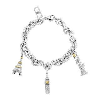 Travel Charm Bracelet with 1/8 ct Diamonds in Sterling Silver & 14K Gold