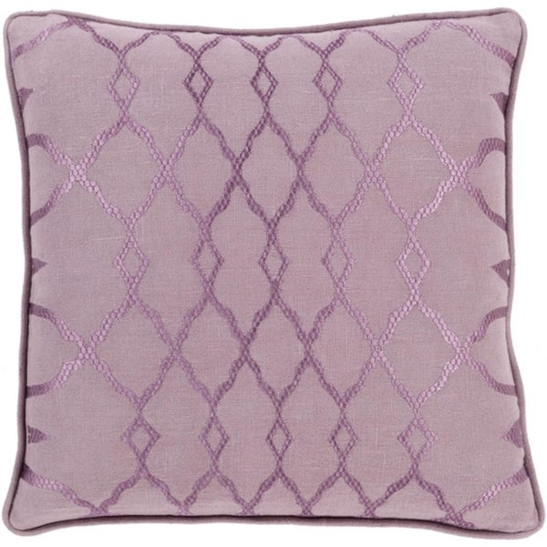 "22"" Periwinkle and Mauve Purple Diamond Handmade Decorative Throw Pillow"