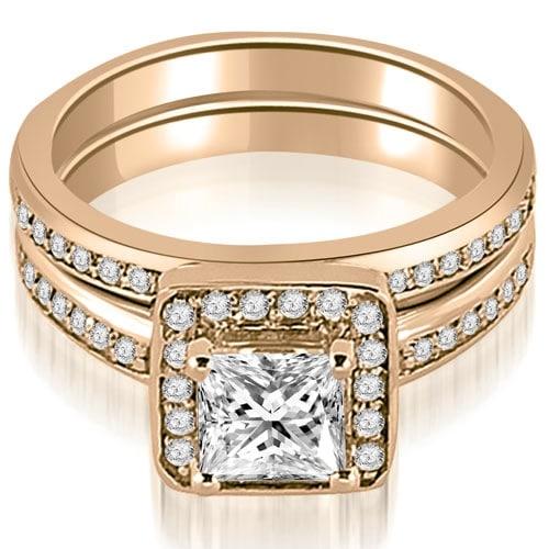 1.00 cttw. 14K Rose Gold Halo Princess and Round Cut Diamond Matching Set