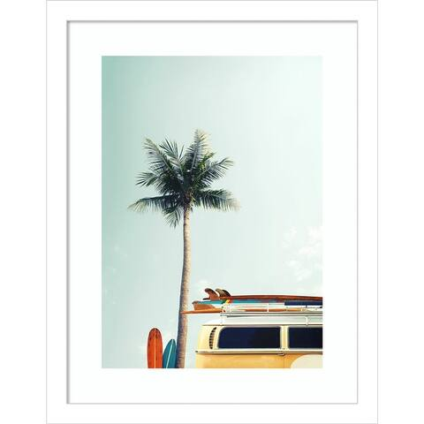Surf Bus Yellow (Palm Tree) by Design Fabrikken Framed Wall Art Print