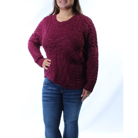 KIIND OF Womens Burgundy Textured Long Sleeve Crew Neck Sweater Size: XL