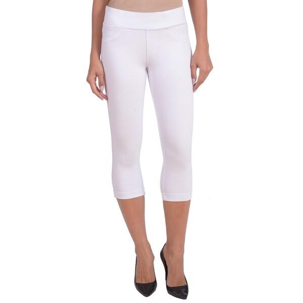 Lola Jeans Michelle-JWHT, Mid Rise Ponte Jersey Pull On Capri