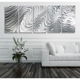 Statements2000 Large Silver Metal Wall Art Panels Sculpture by Jon Allen - Hypnotic Sands 5P XL