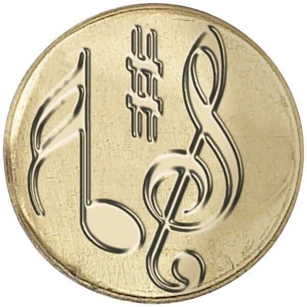 "Decorative Sealing Coin .75""-Musical Note"