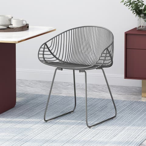 "Lynton Modern Glam Iron Dining Chair by Christopher Knight Home - 23.50"" W x 21.25"" D x 28.75"" H"
