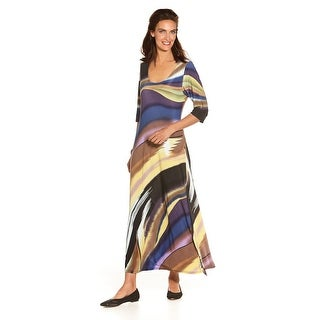 "Women's Canyon Sky Sleeve Maxi Dress - 3/4 Length Sleeves - 49"" Long"