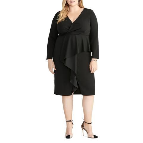 Rachel Rachel Roy Womens Plus Joanna Wrap Dress Faux-Wrap Ruffled
