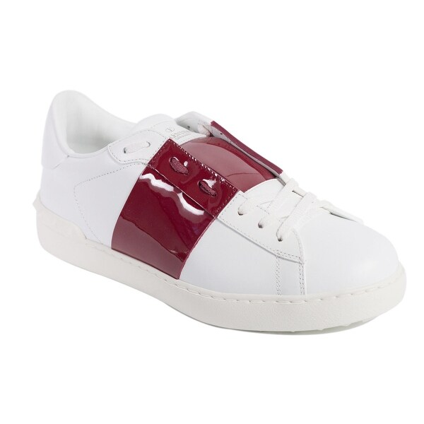 cc9ddcaf9ab1 Shop Valentino Mens White Red Patent Leather Band Open Sneakers ...