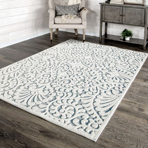 """My Texas House by Orian Indoor/Outdoor Bluebonnets Natural Blue Area Rug - 5'2"""" x 7'6"""""""