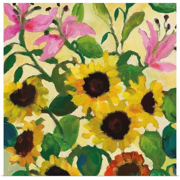 """""""Sunflowers and Pink Lilies"""" Poster Print"""