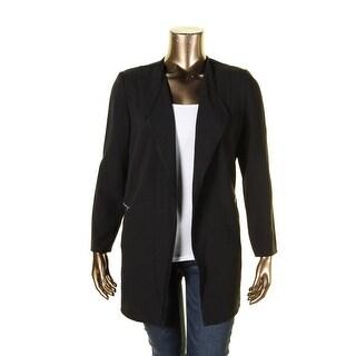 Tahari ASL Womens Top Coat Crepe Open Front Black 14