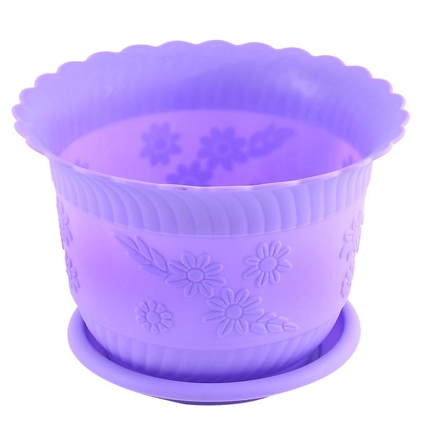 Home Office Garden Plastic Floral Pattern Plant Flower Pot Purple w Tray