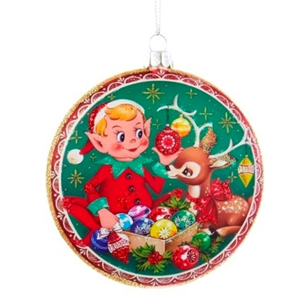 """4"""" Retro Elf and Reindeer Glittered Christmas Glass Disc Ornament"""