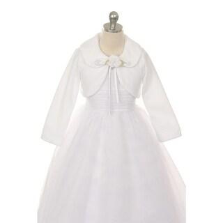 Kids Dream White Flower Special Occasion Fleece Bolero Jacket Girl4-12