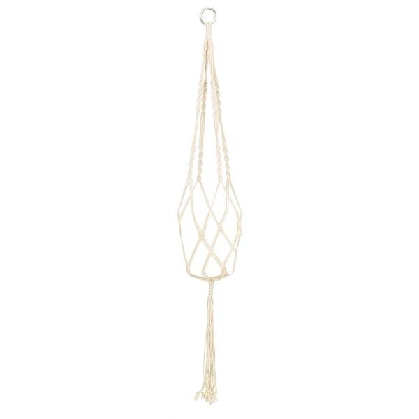 "Macrame Vintage Knotted Flower Pot Plant Hanger Indoor Outdoor Basket Handmade Braided Rope 39.4""Length - Beige. Opens flyout."