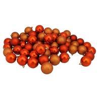 "60ct Burnt Orange Shatterproof 4-Finish Christmas Ball Ornaments 2.5"" (60mm)"