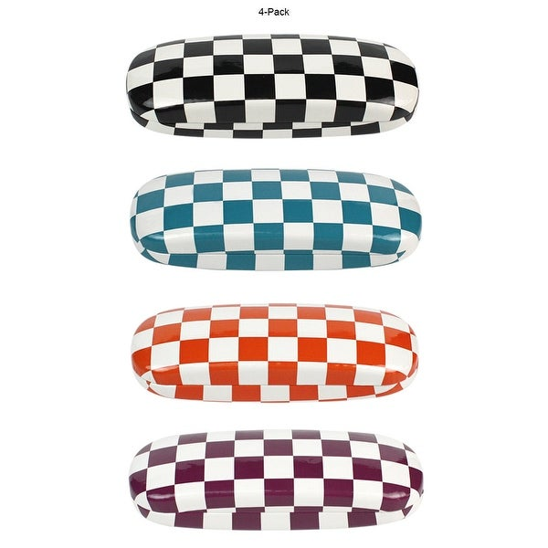 [4 PACK], JAVOedge Checkerboard Multi Color Theme Pattern Hard Clamshell Eyeglass  Storage