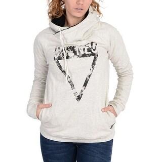 Adidas Womens Funnel Collar Grunge Graphic Hoodie Black - Black/Off White