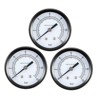 "Pressure Gauge , 0-12 BAR Dual Scale 1.8"" Dial Display , 1/4"" NPT 3pcs"