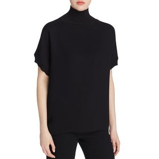 Vince Womens Pullover Top Funnel Neck Ribbed Trim