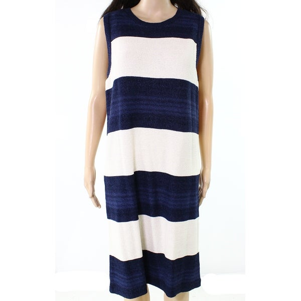 279931244ddd Shop Lauren by Ralph Lauren NEW Blue Womens Large L Striped Sweater Dress -  On Sale - Free Shipping Today - Overstock.com - 21471975