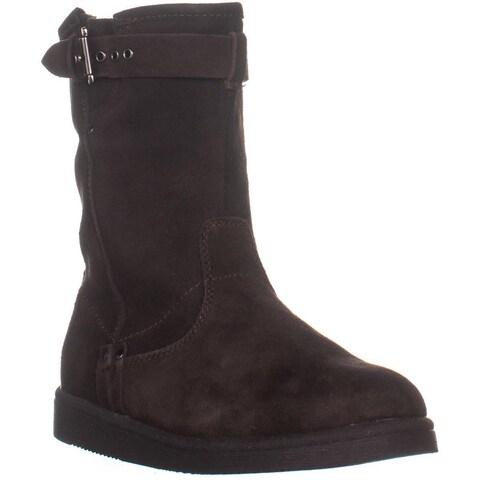 Marc Fisher Earra Mid Calf Pull On Boots, Dark Brown Suede