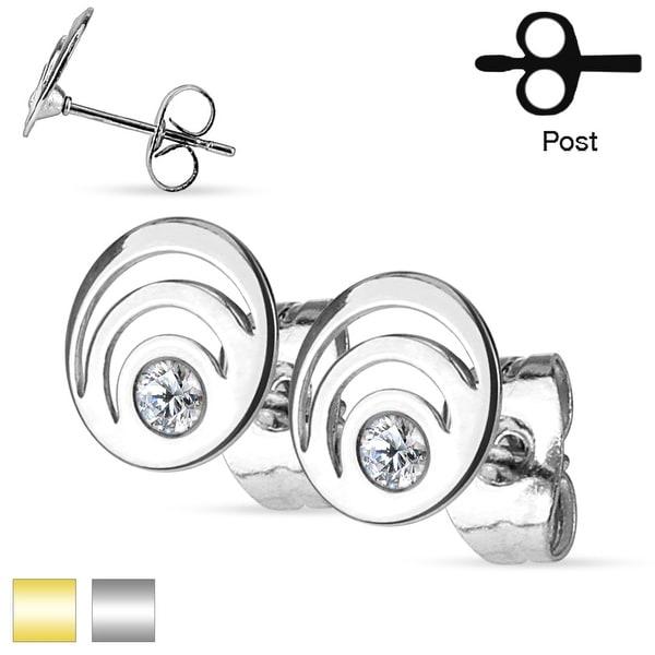 Pair of Crystal Triple Loop Stainless Steel Stud Earrings